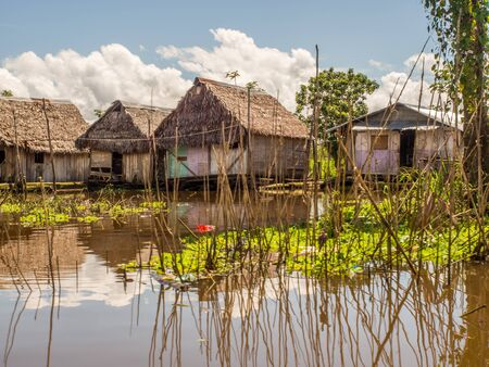 Iquitos, Peru- May 16, 2016: Floating houses in a small city in  Peru. Belen. Belén. Latin America. Amazonia. Redakční
