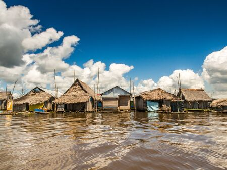 Iquitos, Peru- May 16, 2016: Floating houses in a small city in  Peru. Belen. Belén. Latin America. Amazonia.