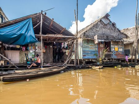 Iquitos, Peru- May 16, 2016: Floating houses in a small city in  Peru.