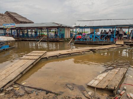 Bellavista, Peru - Sep22, 2017: Bellavista port of Amazon river in Iquitos, Peru. Amazonia, Nanay River tributary of Amazon River. South America