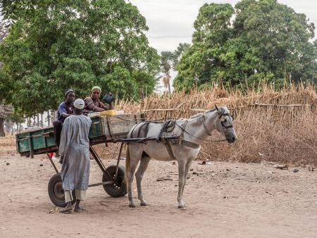 Senegal, Africa- January 26, 2019: Family is  riding horse cart on  the senegalese road. It is  popular transportation way in Africa Sajtókép