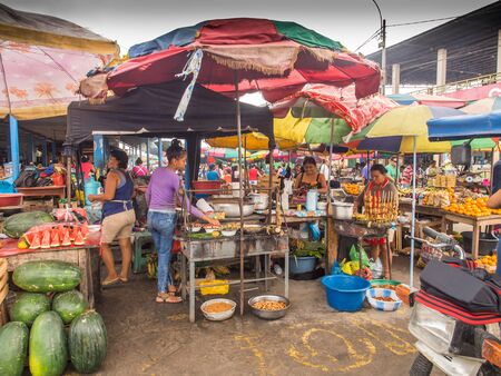 Iquitis, Peru - May 15, 2016: Market with various types of meat, fish and and fruits. Amazonia. South America.