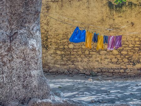 Goree, Senegal. Daily life on the  island Goree. The laundry is hanging on a string. Gorée. Dakar, Senegal. Africa.