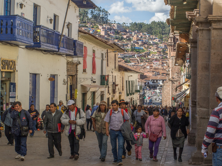 Cusco, Peru - May 18, 2016: People on the street of Cuzco.   Peru, South America. Latin America