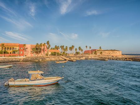Goree, Senegal- February 2, 2019: View of colorful houses on the island Goree. Gorée. Dakar, Senegal. Africa.