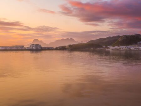 Sunset over the fjord in Bodo in Norway. Nordland. Europe. Gate to Lofoten 写真素材