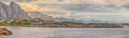 Panoramic beautiful view of Lofoten mountain near Reine. Lofoten islands. Norway. Europe.