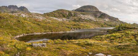 Panoramic view for Sørvågvatnet lake. Lofoten. Sorvagen  Norway.