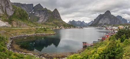 Panoramic beautiful, summer view on Reine. Lofoten islands. Norway. Europe.