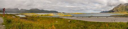 Panoramic view for the bridge on the road Fv 808 to the Fredvang, Fredvang bro. Lofoten, Norway