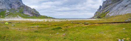 Great, sandy, beautiful Bunes beach, Lofoten, Norway 写真素材