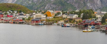 Panoramic close up view on wooden houses in Reine. Lofoten islands. Norway. Europe.
