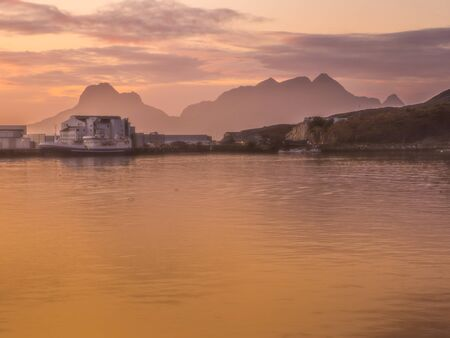 Sunset over the fjord in Bodo in Norway. Nordland. Europe. Gate to Lofoten Stock fotó