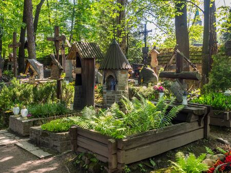 Zakopane, Poland - June 4, 2019 Old, historic cemetery in PÄ™ksowy Brzyzek with beautiful highlander graves for the people and families that have created the history of Zakopane. Eastern Europe.