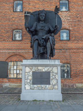 """Copenhagen, Denmark - April 26, 2019: Mary Thomas, a 19th century rebel from St. Croix , known as one of """"the three queens�, who led the largest labor revolt in Danish colonial history, is now honored with a striking statue, entitled """"I am Queen Mar"""