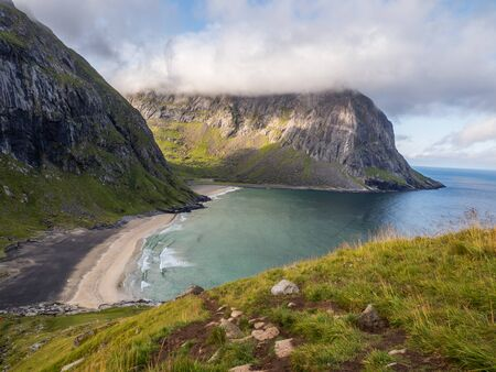 Lofoten, View for  Kvalvika Beach, Norway. Europe Stok Fotoğraf - 137486279