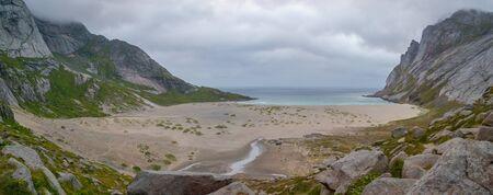 Great, sandy, beautiful Bunes beach, Lofoten, Norway Stok Fotoğraf