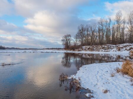 The mouth of Swider  to the Vistula  river during winter season. Jozefow. Otwock,  Świder. Natura 2000. Poland Stock Photo
