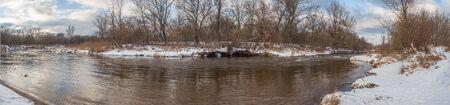 Swider river during winter season. Jozefow. Otwock,  Świder. Natura 2000. Poland Stock Photo
