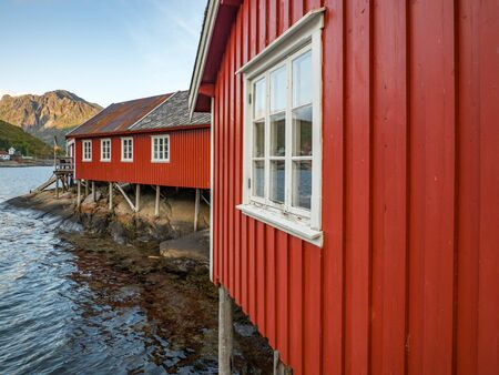 Traditional, red, wooden houses in Reine. Lofoten Norway. Europe.