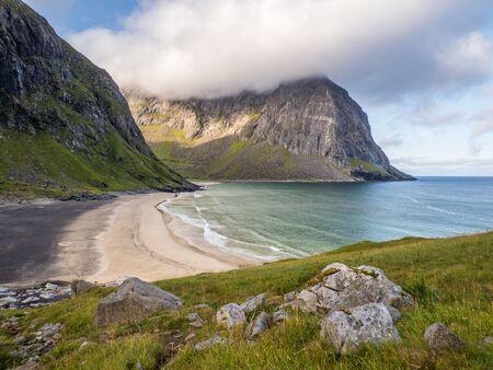 Lofoten, View for  Kvalvika Beach, Norway. Europe