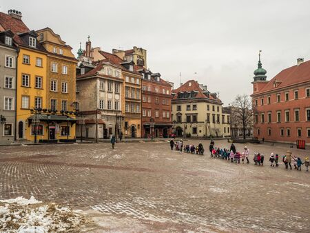 Warsaw, Poland - January  16, 2019:  View of Castle Square (Plac Zamkow, one of the best known and most prestigious squere of Warsaw Editöryel