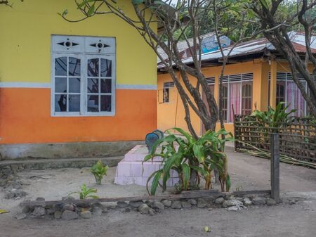 Ambon, Indonesia - February 11, 2018: The grave of a family member in the yard next to the house on Ambon Island, Maluku Editöryel