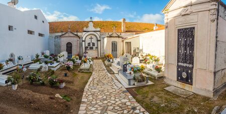 Almoçageme, Portugal  - January 1,  2019: Local  cemetery in Portugal. Europe Editöryel