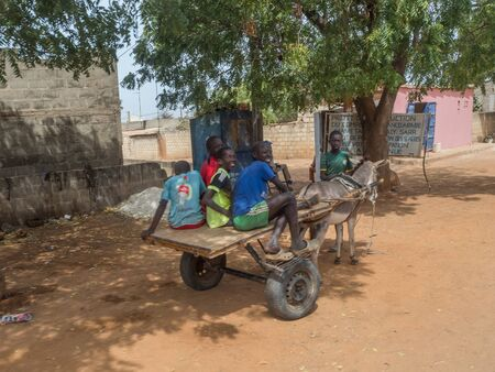 Nianing, Senegal - January 24, 2019: young boys are riding donkey cart on  the senegalese road. It is a popular transportation way in Africa