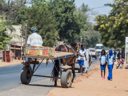 Nianing, Senegal - January 24, 2019:  Man is riding horse cart on  the senegalese road. It is  popular transportation way in Africa Editöryel