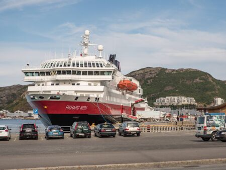 Bodo, Norway - August 20, 2019: Cruise ferry sailing along the coast of Norway. Nordland. Europe. Lofoten Gate Editöryel