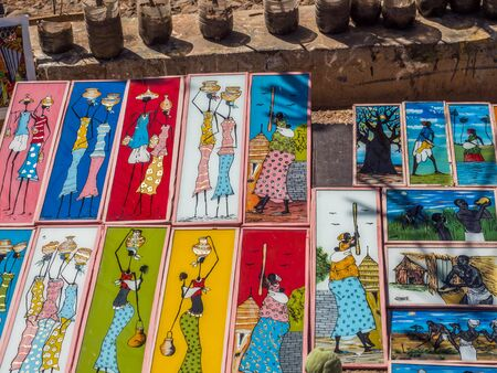 Goree, Senegal - February 2, 2019:  Typical souvenir, on island of Goree. Gorée. Dakar, Senegal. Africa.