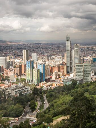 Bogota, Colombia - September 12, 2019: View for the modern center of Bogota from the top of the Monserrate mountain, Bogotá, Colombia, Latin America