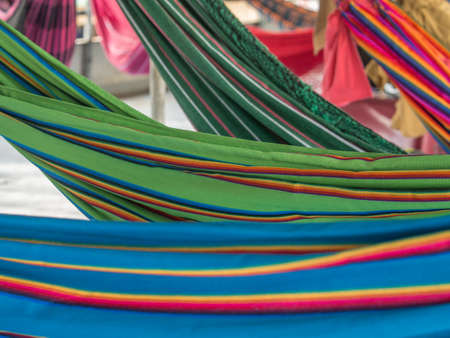 Amazon River, Peru. Beautiful, colorful hammocks on the cargo boat. Amazonia, trail from Santa Rosa to Iquitos. South America