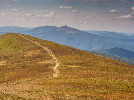 Trekking trail on the Polonina Carynska in Bieszczady Mountains, Bieszczady County, Poland. Europe, Podkarpackie Voivodeship, Bieszczady, Carpathians,