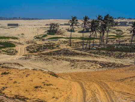 Road through the desert at the end of the first and already historic Paris-Dakar route