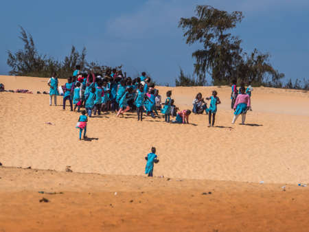 Senegal, Africa - Feb 02, 2019: Chidren playing on the dune.