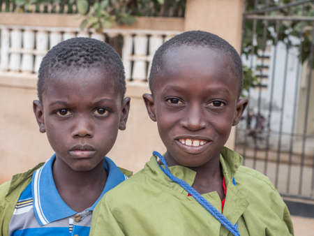 Senegal, Africa - January 24, 2019: Portrait of a black boys with a big eyes. Senegal Africa.