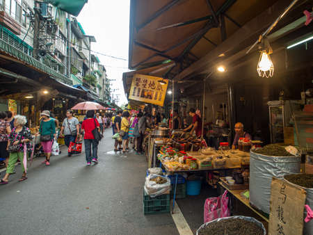Taipei, Taiwan - October 04, 2016: Typical local bazaar in Taiwan with lots of local products