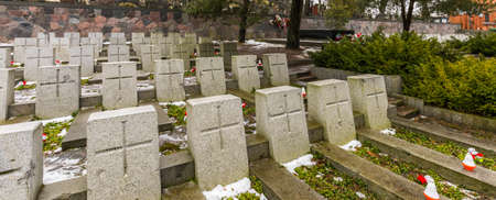 Vilnius, Lithuania - Jan 2018: The war cemetery on the Rasos Cemetery was built near the entrance in 1920 for 164 Polish soldiers. It is the oldest and most famous cemetery in the city of Vilnius. Stok Fotoğraf - 161538162