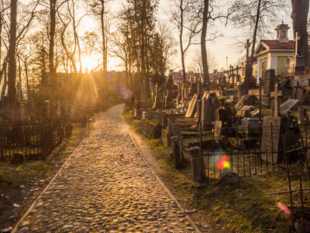 Užupis, Vilnius, Lithuania - April 08, 2018: Local cemetery in Vilnus, Europe Stok Fotoğraf - 161458118