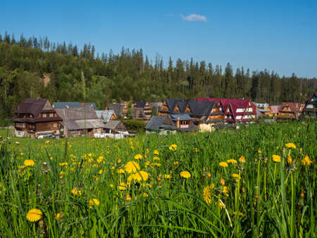 Tatra Mountains, Poland - June 4, 2019: Meadow in a small Polish village in the Tatra Mountains and wooden highlander's huts