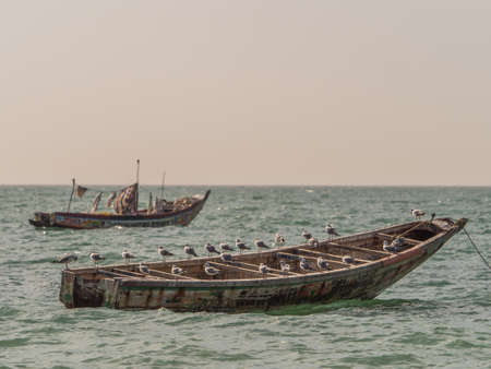 Nianing, Senegal - January 24, 2019: Colorful wooden fishing boats bouncing on the waves anchored far from the beach. africa Stok Fotoğraf - 161466488
