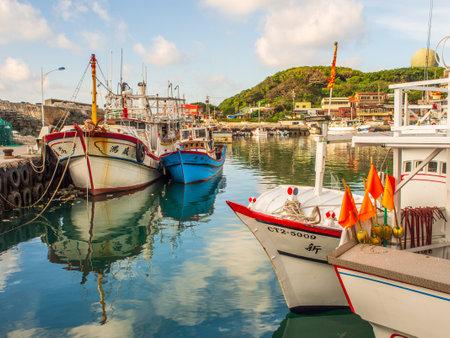 Fuji, Taiwan - October 03, 2016: Fishing boats of different size in Fuji Fishing Harbor. Fishing Port, Republic of China, Taiwan, Asia Editöryel