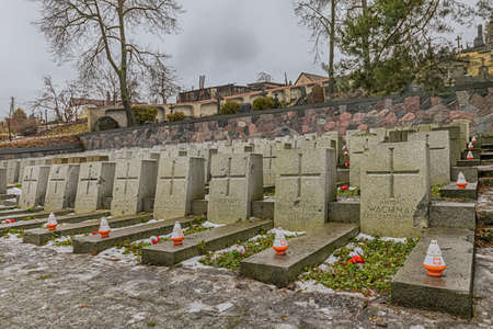 Vilnius, Lithuania - Jan 2018: The war cemetery on the Rasos Cemetery was built near the entrance in 1920 for 164 Polish soldiers. It is the oldest and most famous cemetery in the city of Vilnius.