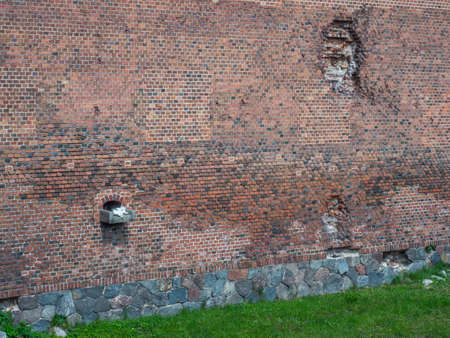 Malbork, Poland - May 22 2019: Close-up for the wall of Teutonic Castle in Malbork (Marienburg) in Pomerania. Poland. Europe