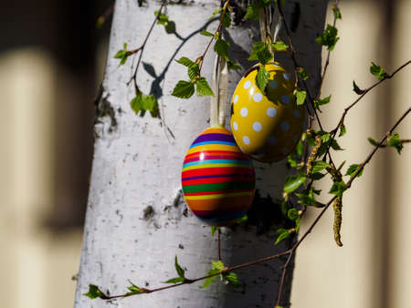 Easter postcard, Easter basket with festivity in Poland.