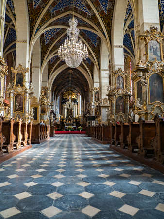 Sandomierz, Poland - February 17, 2020: Cathedral Basilica of the Nativity of the Blessed Virgin Mary. It is Gothic church built in the 14th Century. Interior view. Editöryel