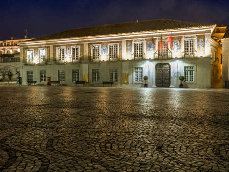 Cascais, Portugal -Jan 2019: It was originally a fishing town, at 19th century it became known as a resting place for the Portuguese royal family. City Hall by night (Câmara Municipal de Cascais)