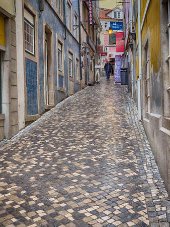 Portugal- Jan 2019: Narrow atmospheric streets in the historic center of Sintra. It is a town in Greater Lisbon region of Portugal, located on the Portuguese Riviera. UNESCO World Heritage Site.